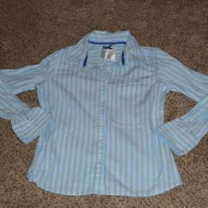Justice Girls L/S Striped Blue/White top Sz 12 GUC